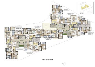 Aparna Elina gated community apartments in yashwantpur first floor plan
