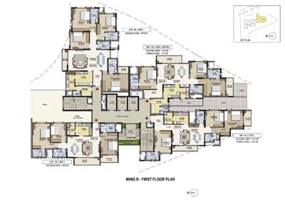 Aparna Elina gated community apartments in yashwantpur Wing B first floor plan