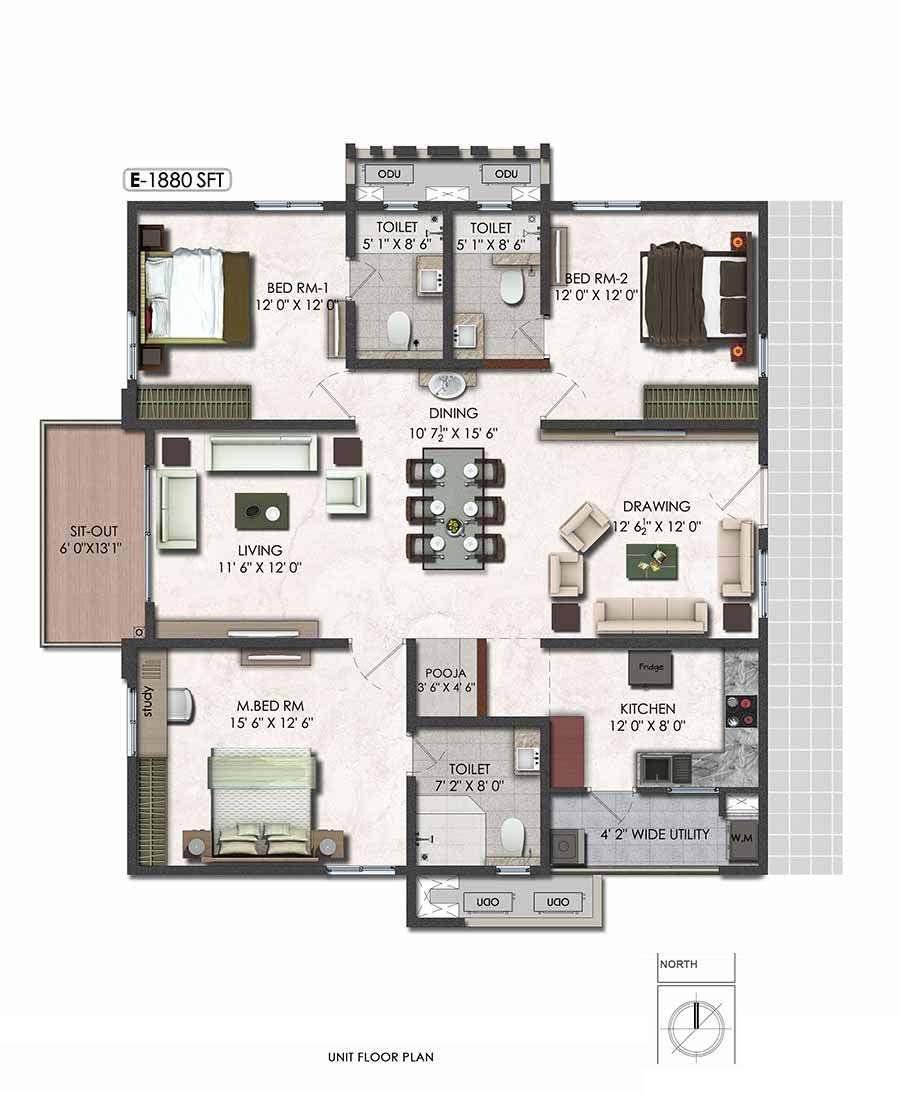 Aparna serene park floor plan 3bhk east 1880sqft