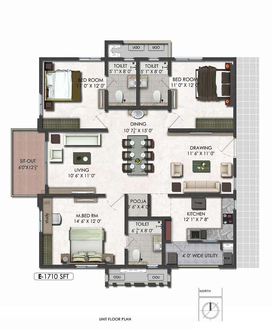 Aparna serene park floor plan 3bhk east 1710sqft