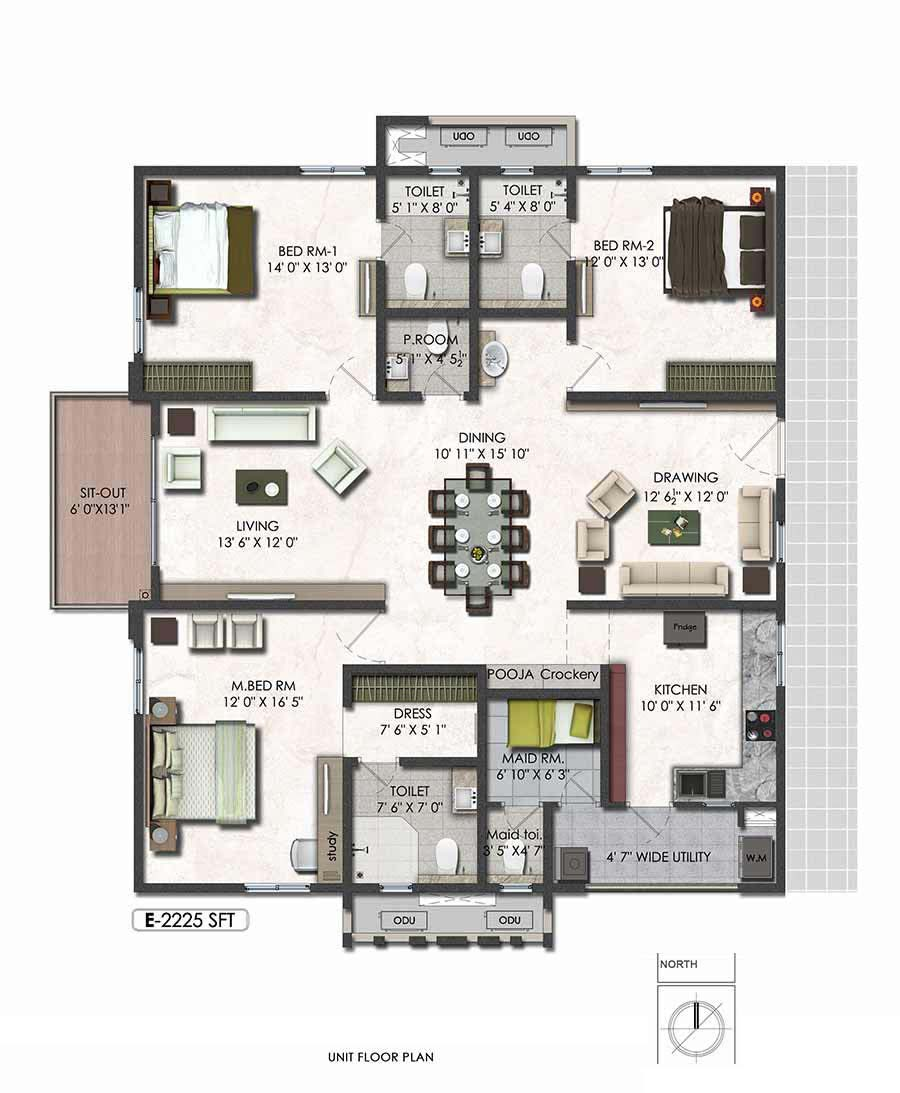 Aparna serene park floor plan 3bhk east 2225sqft