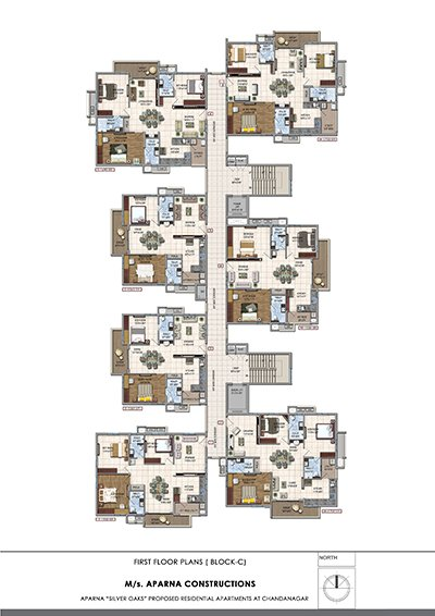 Aparna hillpark silver oaks Chandanagar apartments first floor Block c floor plan