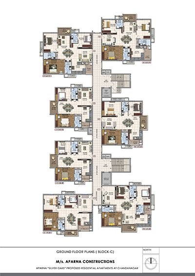 Aparna hillpark silver oaks Chandanagar apartments Ground floor Block C floor plan