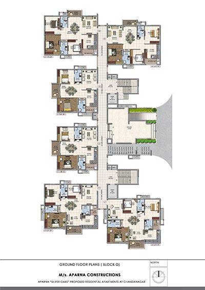 Aparna hillpark silver oaks Chandanagar apartments Ground floor Block D floor plan