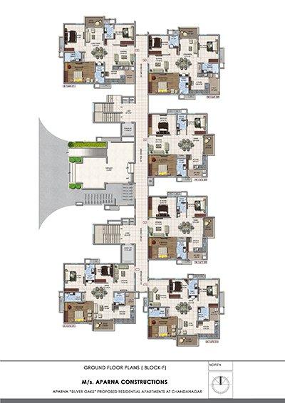 Aparna hillpark silver oaks Chandanagar apartments ground floor Block F floor plan