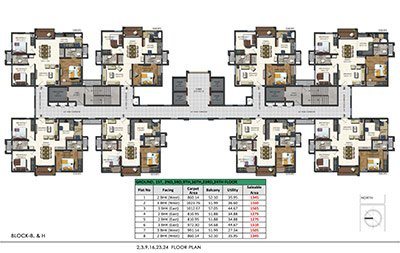 Aparna Sarovar Zenith nallagandla apartment 2,3,9,16,23,24 floor plan