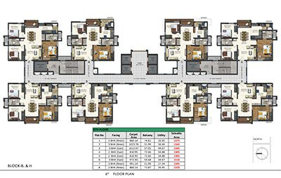 Aparna Sarovar Zenith nallagandla apartment 6th floor plan