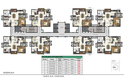 Floor plan of Aparna Sarovar Zenith 7th 8th 20th 21st and 22nd floors 2