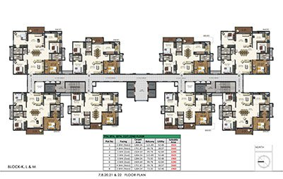 Aparna Sarovar Zenith nallagandla apartment 7th 8th 20th 21st and 22nd floor plan