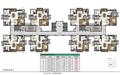 Floor plan of Aparna Sarovar Zenith 10th 11th and 12th floors 3bhk 2