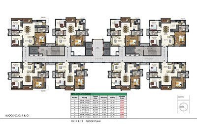Floor plan of Aparna Sarovar Zenith 10th 11th and 12th floors 3bhk 3