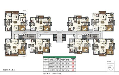 Floor plan of Aparna Sarovar Zenith 10th 11th and 12th floors 3bhk 4