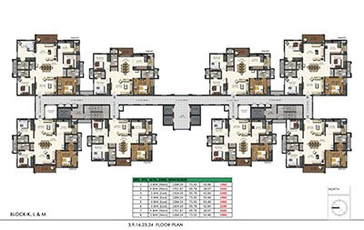 Floor plan of Aparna Sarovar Zenith 3rd 9th 16th 23rd and 24th floors 3bhk 3
