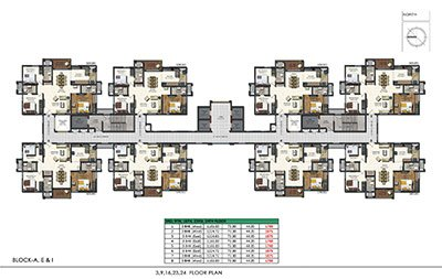 Floor plan of Aparna Sarovar Zenith 3rd 9th 16th 23rd and 24th floors 3bhk