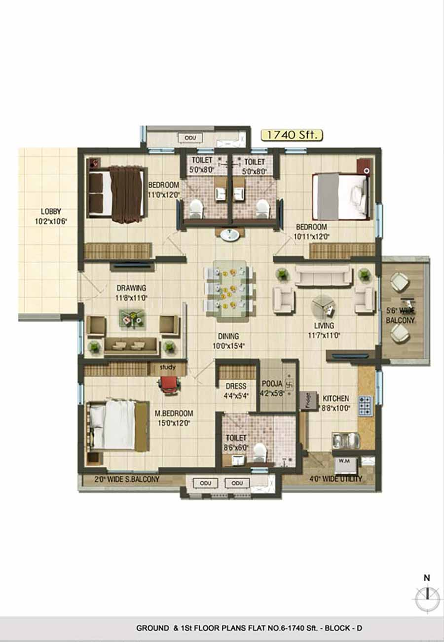 Aparna Cyberlife apartment gachibowli floor plan 3bhk 1740sqft ground and 1st floor plan Block D
