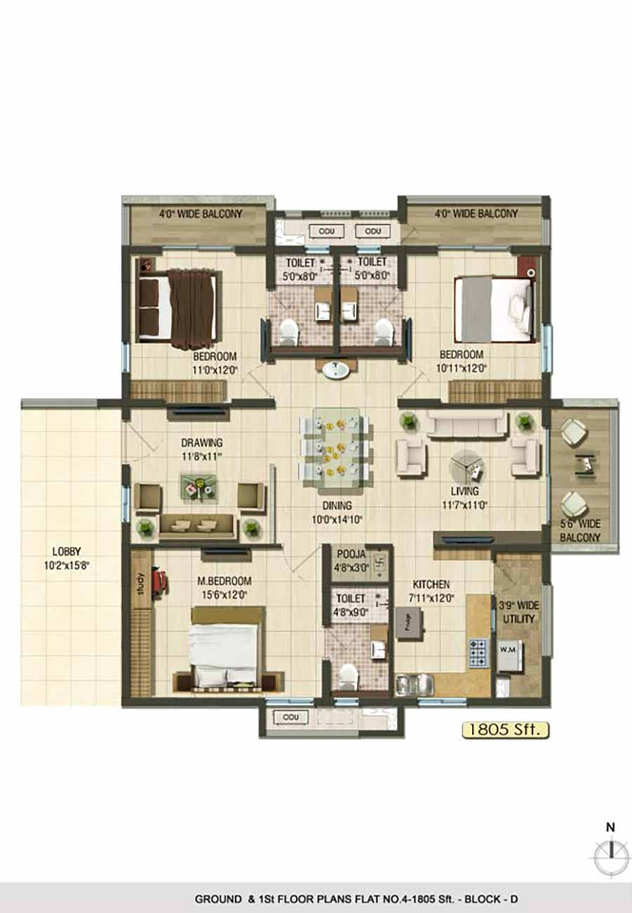 Aparna Cyberlife apartment gachibowli floor plan 3bhk 1805sqft ground and 1st floor plan Block D