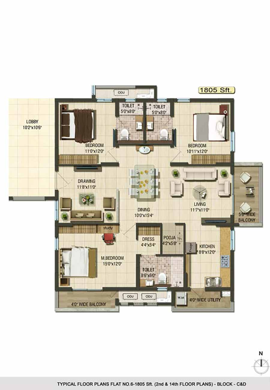 Aparna Cyberlife apartment gachibowli floor plan 3bhk 1805sqft ground and 2nd and 14th floor plans Block C and D