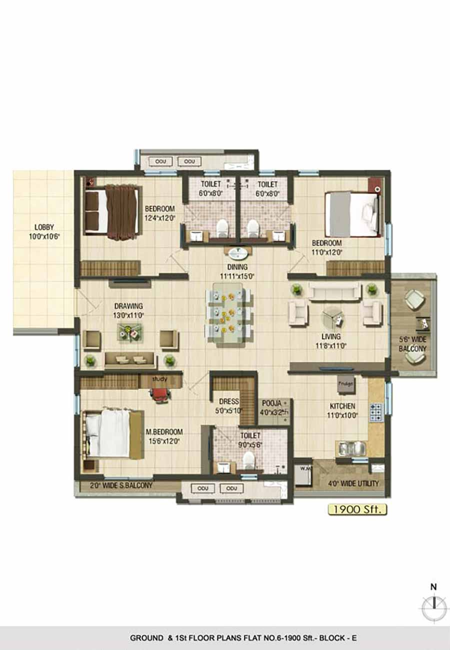 Aparna Cyberlife apartment gachibowli floor plan 3bhk 1900sqft ground and 1st floor plan Block E