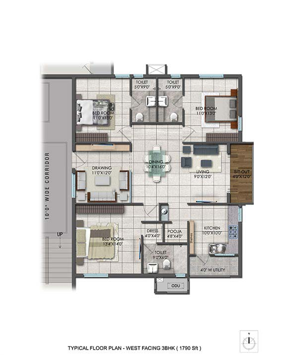 Aparna Hillpark Lake breeze floor plan