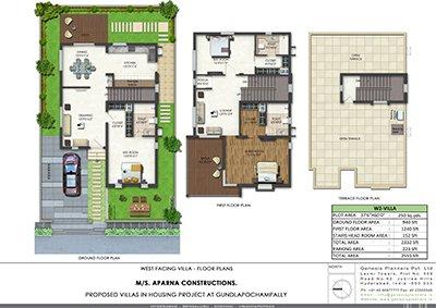Aparna Kanopy Lotus villa Floor Plan kompally 3