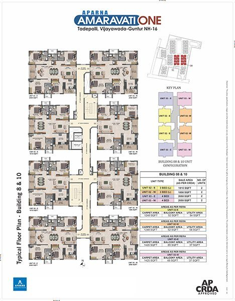 Aparna Amaravati One gated Community Flats in Vijayawada 8 and 10 building floor plan