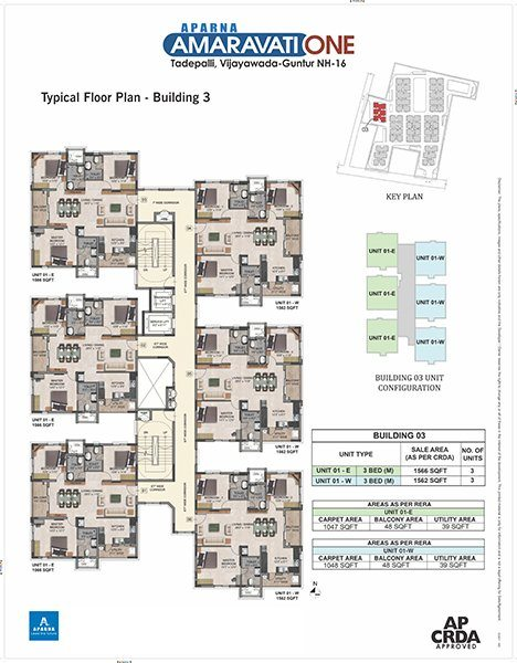 Aparna Amaravati One gated Community Flats in Vijayawada building 3 floor plan