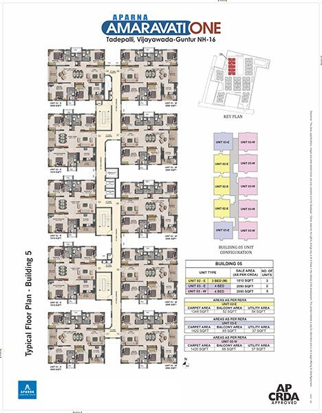 Aparna Amaravati One gated Community Flats in Vijayawada building 5 floor plan