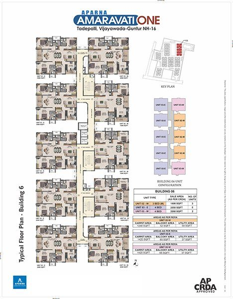 Aparna Amaravati One gated Community Flats in Vijayawada building 6 floor plan